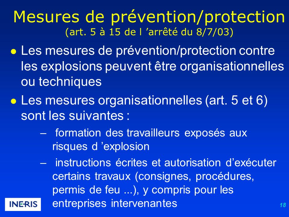 18 Mesures de prévention/protection (art.