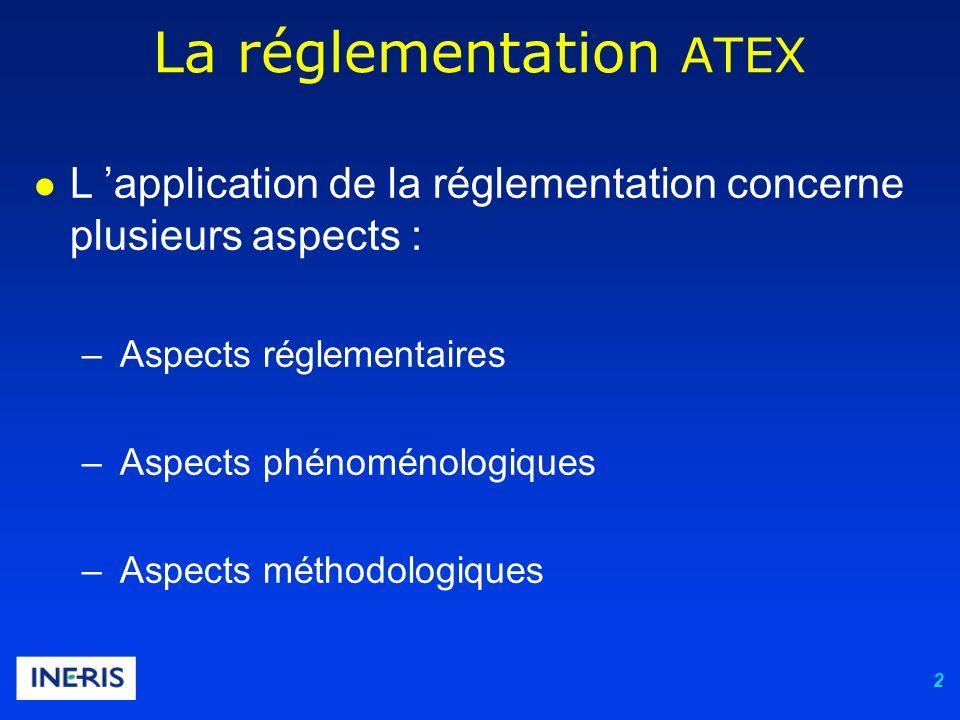 2 La réglementation ATEX L application de la réglementation concerne plusieurs aspects : – Aspects réglementaires – Aspects phénoménologiques – Aspects méthodologiques