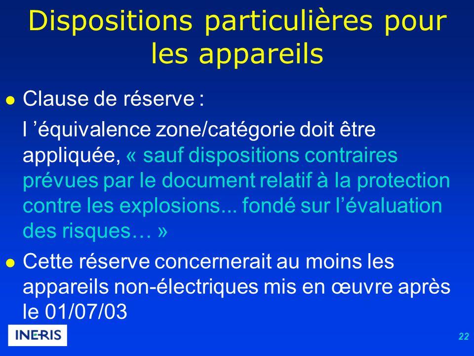 22 Dispositions particulières pour les appareils Clause de réserve : l équivalence zone/catégorie doit être appliquée, « sauf dispositions contraires prévues par le document relatif à la protection contre les explosions...