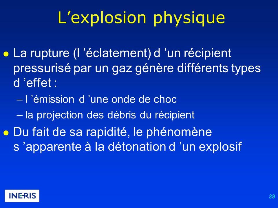 39 Lexplosion physique La rupture (l éclatement) d un récipient pressurisé par un gaz génère différents types d effet : –l émission d une onde de choc –la projection des débris du récipient Du fait de sa rapidité, le phénomène s apparente à la détonation d un explosif