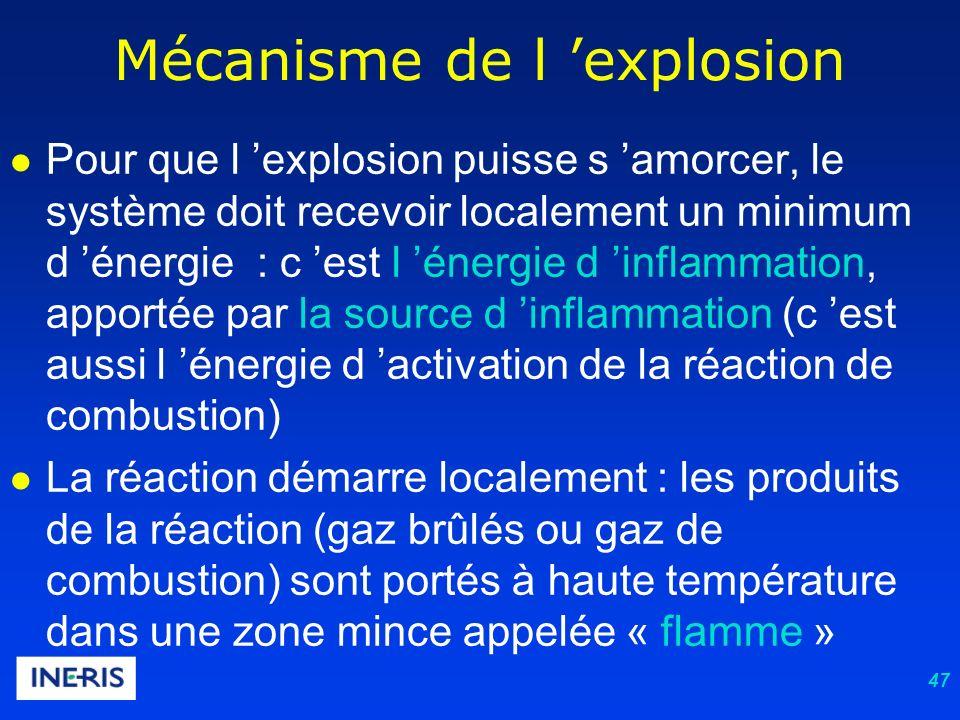 47 Mécanisme de l explosion Pour que l explosion puisse s amorcer, le système doit recevoir localement un minimum d énergie : c est l énergie d inflammation, apportée par la source d inflammation (c est aussi l énergie d activation de la réaction de combustion) La réaction démarre localement : les produits de la réaction (gaz brûlés ou gaz de combustion) sont portés à haute température dans une zone mince appelée « flamme »