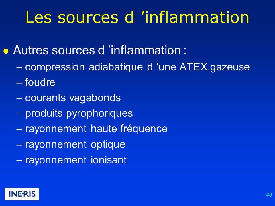 49 Les sources d inflammation Autres sources d inflammation : –compression adiabatique d une ATEX gazeuse –foudre –courants vagabonds –produits pyrophoriques –rayonnement haute fréquence –rayonnement optique –rayonnement ionisant