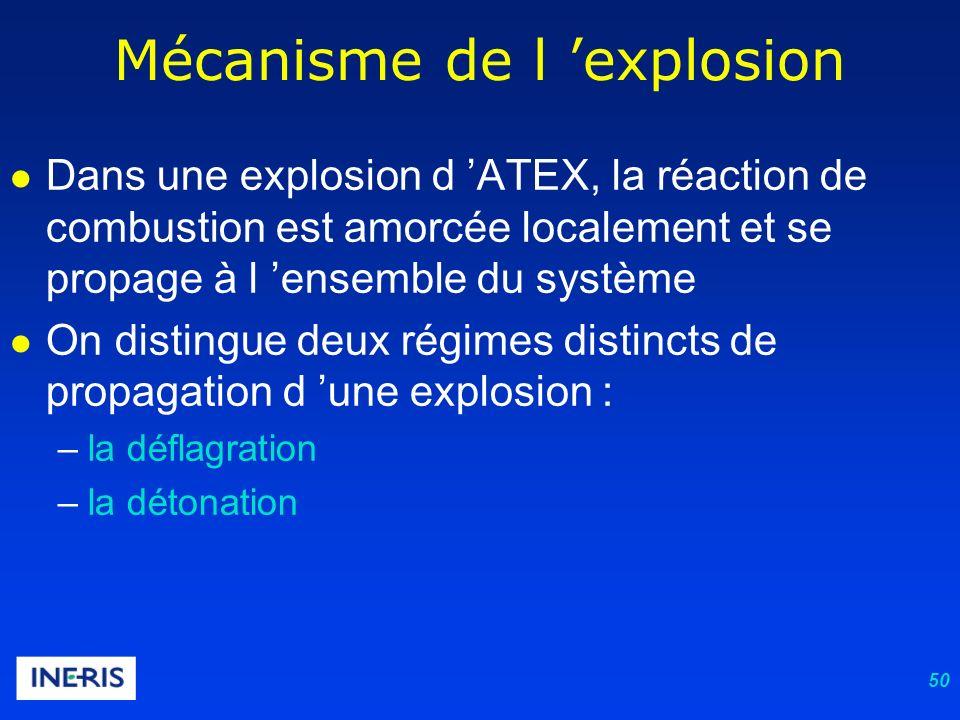 50 Mécanisme de l explosion Dans une explosion d ATEX, la réaction de combustion est amorcée localement et se propage à l ensemble du système On distingue deux régimes distincts de propagation d une explosion : –la déflagration –la détonation