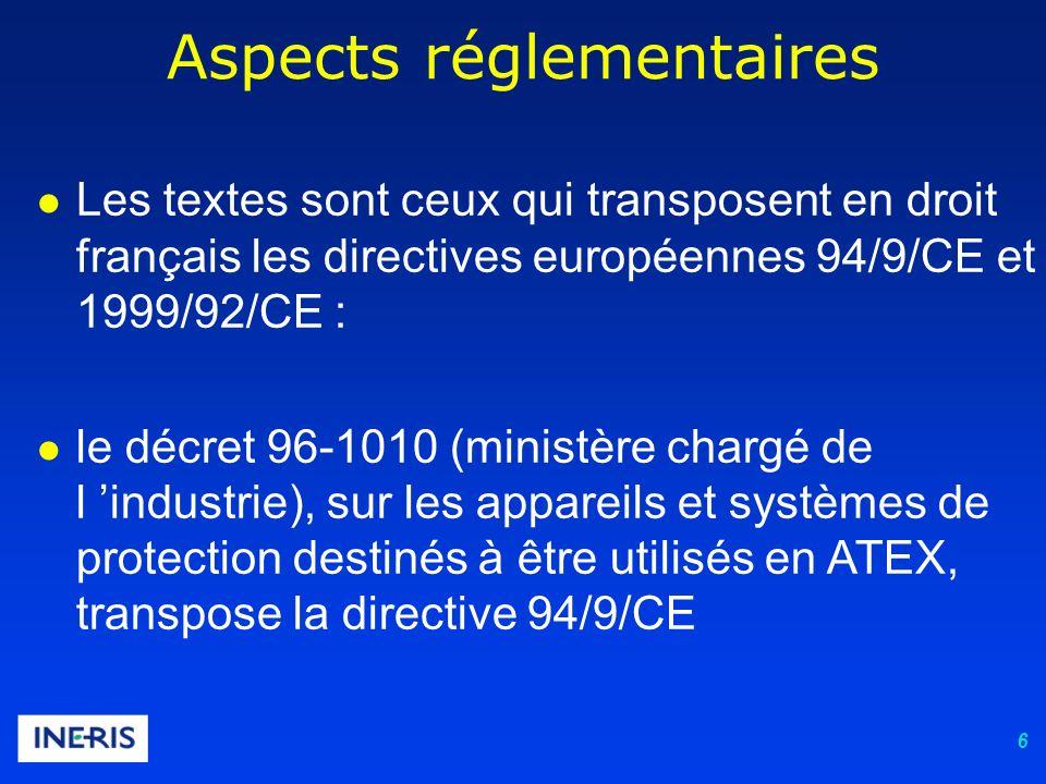 6 Aspects réglementaires Les textes sont ceux qui transposent en droit français les directives européennes 94/9/CE et 1999/92/CE : le décret 96-1010 (ministère chargé de l industrie), sur les appareils et systèmes de protection destinés à être utilisés en ATEX, transpose la directive 94/9/CE