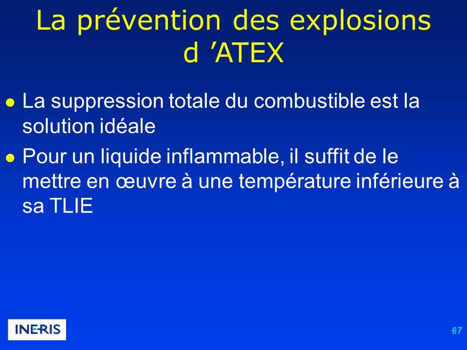 67 La prévention des explosions d ATEX La suppression totale du combustible est la solution idéale Pour un liquide inflammable, il suffit de le mettre en œuvre à une température inférieure à sa TLIE