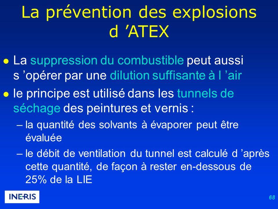 68 La prévention des explosions d ATEX La suppression du combustible peut aussi s opérer par une dilution suffisante à l air le principe est utilisé dans les tunnels de séchage des peintures et vernis : –la quantité des solvants à évaporer peut être évaluée –le débit de ventilation du tunnel est calculé d après cette quantité, de façon à rester en-dessous de 25% de la LIE