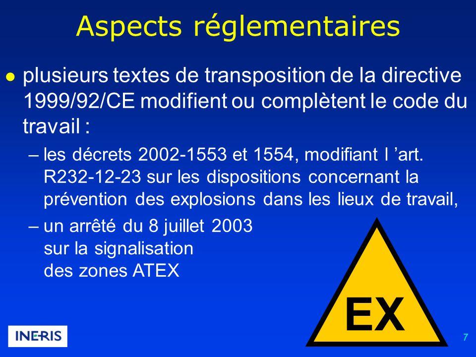 7 Aspects réglementaires plusieurs textes de transposition de la directive 1999/92/CE modifient ou complètent le code du travail : –les décrets 2002-1553 et 1554, modifiant l art.