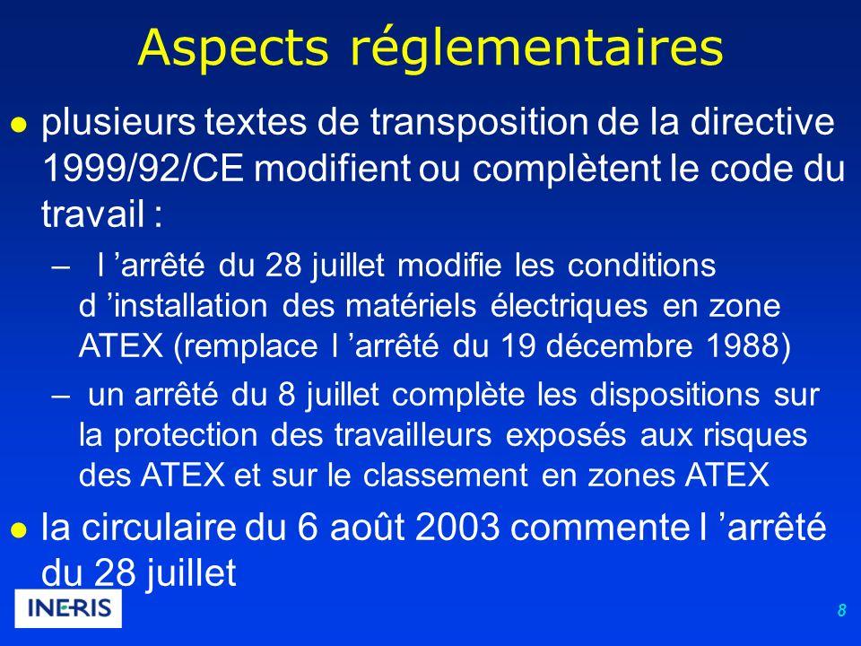 8 Aspects réglementaires plusieurs textes de transposition de la directive 1999/92/CE modifient ou complètent le code du travail : – l arrêté du 28 juillet modifie les conditions d installation des matériels électriques en zone ATEX (remplace l arrêté du 19 décembre 1988) – un arrêté du 8 juillet complète les dispositions sur la protection des travailleurs exposés aux risques des ATEX et sur le classement en zones ATEX la circulaire du 6 août 2003 commente l arrêté du 28 juillet