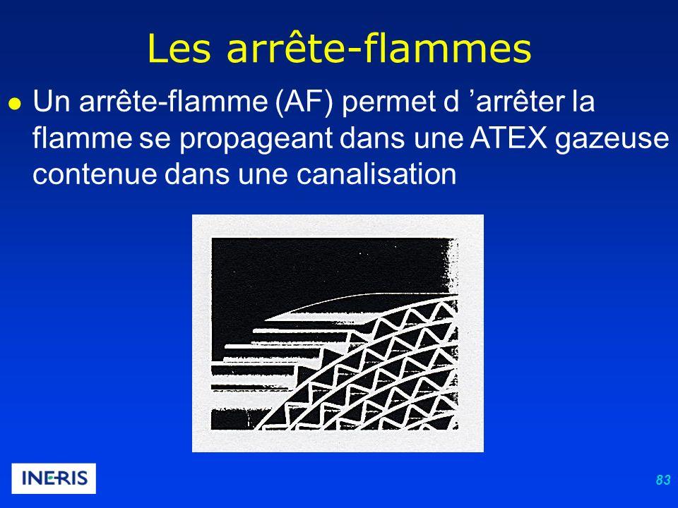 83 Les arrête-flammes Un arrête-flamme (AF) permet d arrêter la flamme se propageant dans une ATEX gazeuse contenue dans une canalisation