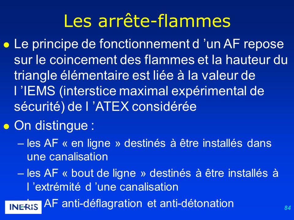84 Les arrête-flammes Le principe de fonctionnement d un AF repose sur le coincement des flammes et la hauteur du triangle élémentaire est liée à la valeur de l IEMS (interstice maximal expérimental de sécurité) de l ATEX considérée On distingue : –les AF « en ligne » destinés à être installés dans une canalisation –les AF « bout de ligne » destinés à être installés à l extrémité d une canalisation –les AF anti-déflagration et anti-détonation