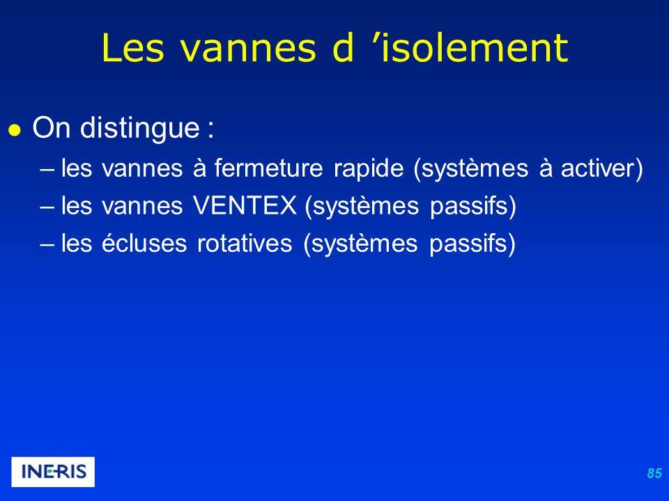 85 Les vannes d isolement On distingue : –les vannes à fermeture rapide (systèmes à activer) –les vannes VENTEX (systèmes passifs) –les écluses rotatives (systèmes passifs)