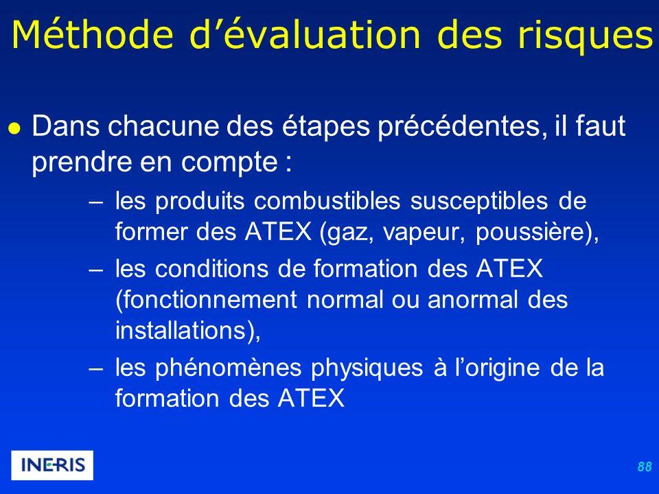88 Dans chacune des étapes précédentes, il faut prendre en compte : –les produits combustibles susceptibles de former des ATEX (gaz, vapeur, poussière), –les conditions de formation des ATEX (fonctionnement normal ou anormal des installations), –les phénomènes physiques à lorigine de la formation des ATEX Méthode dévaluation des risques