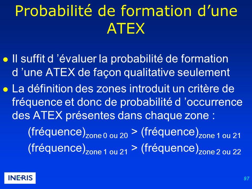 97 Il suffit d évaluer la probabilité de formation d une ATEX de façon qualitative seulement La définition des zones introduit un critère de fréquence et donc de probabilité d occurrence des ATEX présentes dans chaque zone : (fréquence) zone 0 ou 20 > (fréquence) zone 1 ou 21 (fréquence) zone 1 ou 21 > (fréquence) zone 2 ou 22 Probabilité de formation dune ATEX