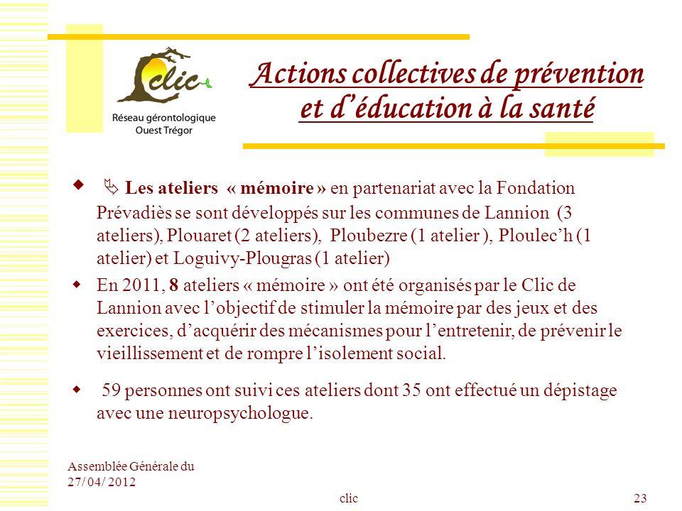 Assemblée Générale du 27/ 04/ 2012 clic23 Actions collectives de prévention et déducation à la santé Les ateliers « mémoire » en partenariat avec la F