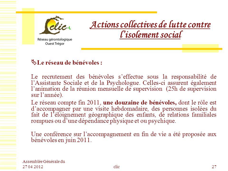 Assemblée Générale du 27 04 2012 clic27 Actions collectives de lutte contre lisolement social Le réseau de bénévoles : Le recrutement des bénévoles se