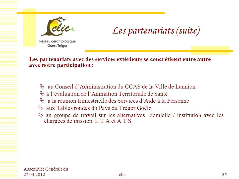 Assemblée Générale du 27 04 2012 clic35 Les partenariats (suite) Les partenariats avec des services extérieurs se concrétisent entre autre avec notre