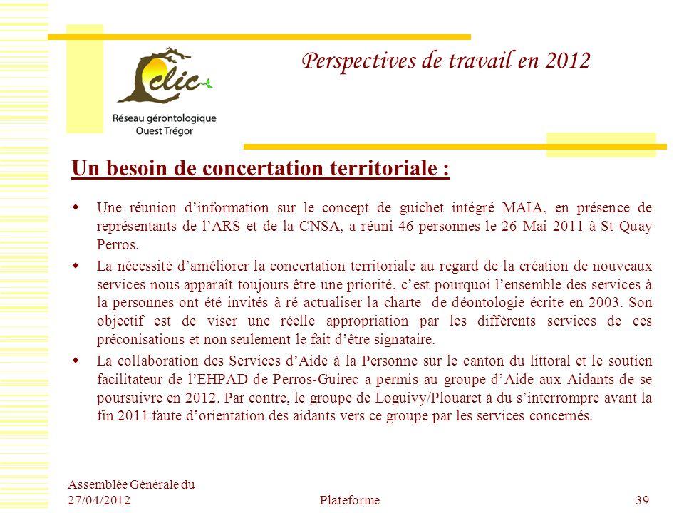 Perspectives de travail en 2012 Un besoin de concertation territoriale : Une réunion dinformation sur le concept de guichet intégré MAIA, en présence