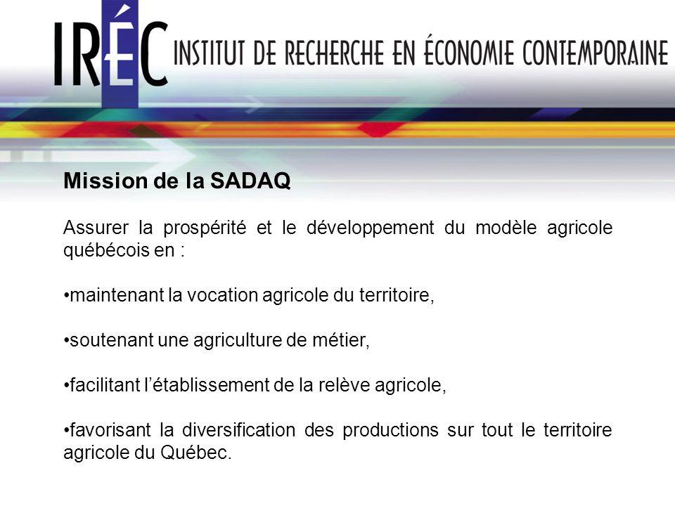 Mission de la SADAQ Assurer la prospérité et le développement du modèle agricole québécois en : maintenant la vocation agricole du territoire, soutena