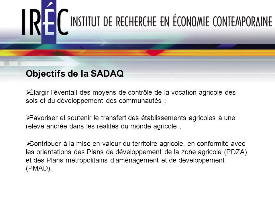 Objectifs de la SADAQ Élargir léventail des moyens de contrôle de la vocation agricole des sols et du développement des communautés ; Favoriser et sou