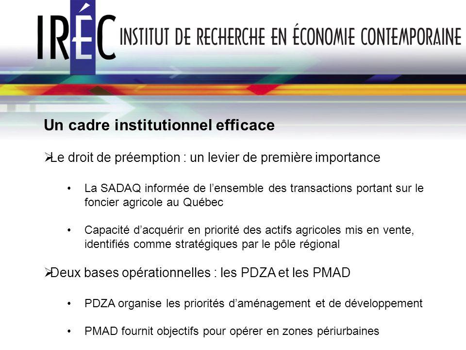 Un cadre institutionnel efficace Le droit de préemption : un levier de première importance La SADAQ informée de lensemble des transactions portant sur