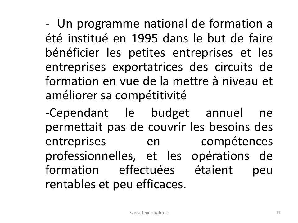 - Un programme national de formation a été institué en 1995 dans le but de faire bénéficier les petites entreprises et les entreprises exportatrices d
