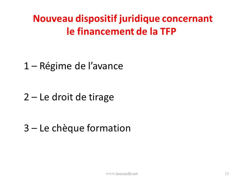 Nouveau dispositif juridique concernant le financement de la TFP 1 – Régime de lavance 2 – Le droit de tirage 3 – Le chèque formation 13www.imacaudit.