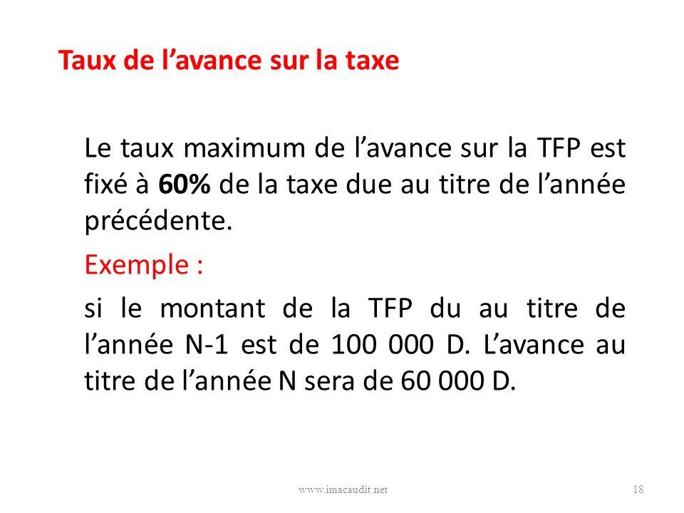 Taux de lavance sur la taxe Le taux maximum de lavance sur la TFP est fixé à 60% de la taxe due au titre de lannée précédente. Exemple : si le montant