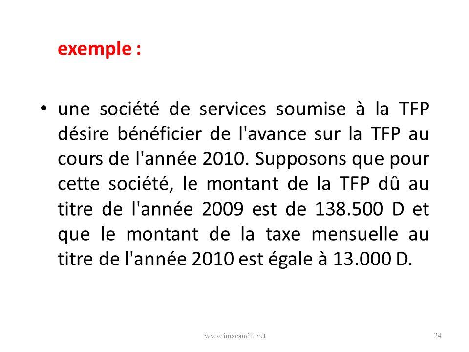 exemple : une société de services soumise à la TFP désire bénéficier de l'avance sur la TFP au cours de l'année 2010. Supposons que pour cette société