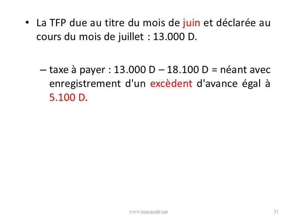 La TFP due au titre du mois de juin et déclarée au cours du mois de juillet : 13.000 D. – taxe à payer : 13.000 D – 18.100 D = néant avec enregistreme