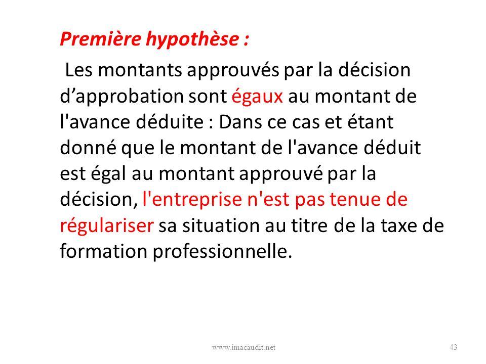 Première hypothèse : Les montants approuvés par la décision dapprobation sont égaux au montant de l'avance déduite : Dans ce cas et étant donné que le