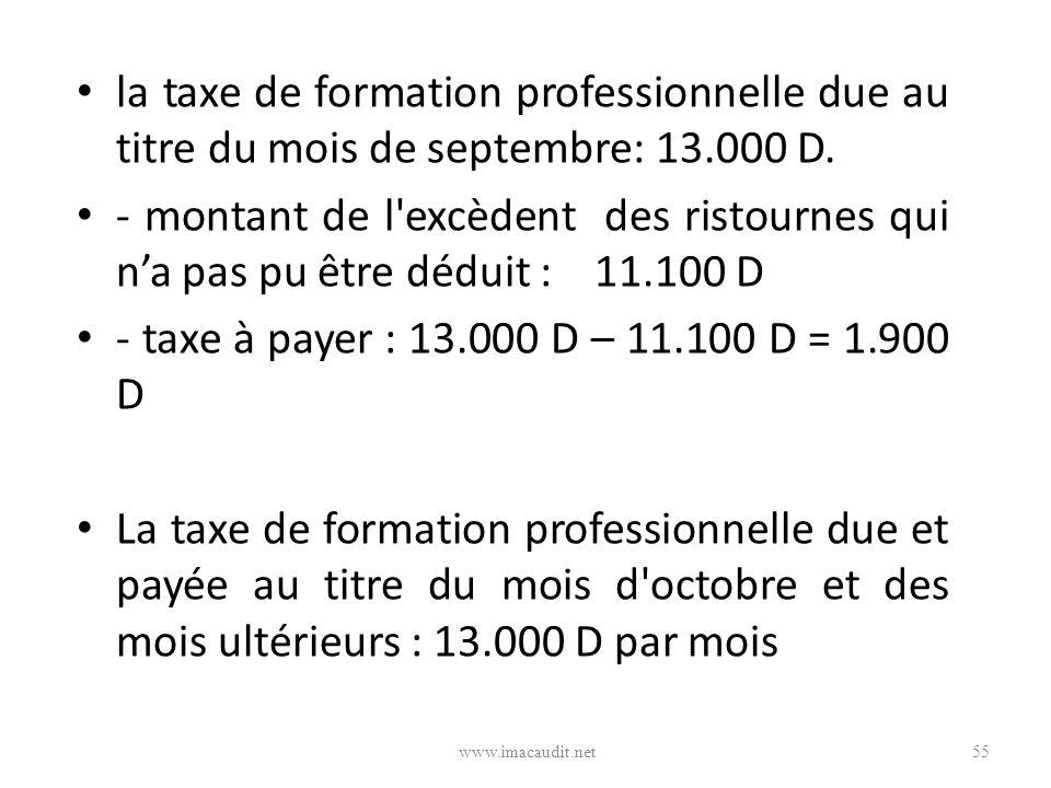 la taxe de formation professionnelle due au titre du mois de septembre: 13.000 D. - montant de l'excèdent des ristournes qui na pas pu être déduit : 1