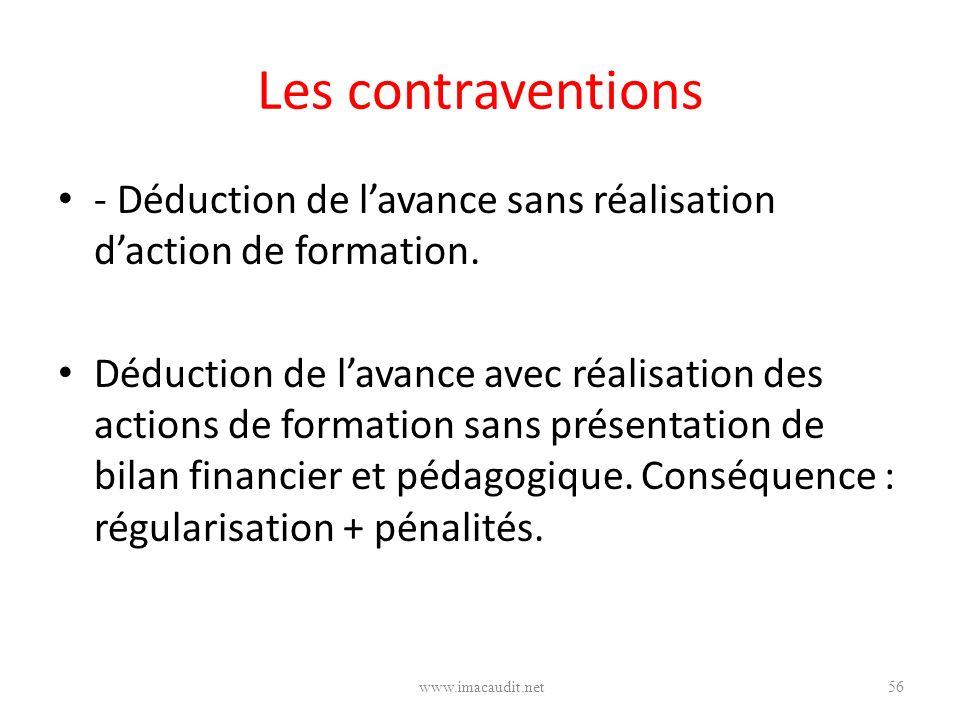 Les contraventions - Déduction de lavance sans réalisation daction de formation. Déduction de lavance avec réalisation des actions de formation sans p