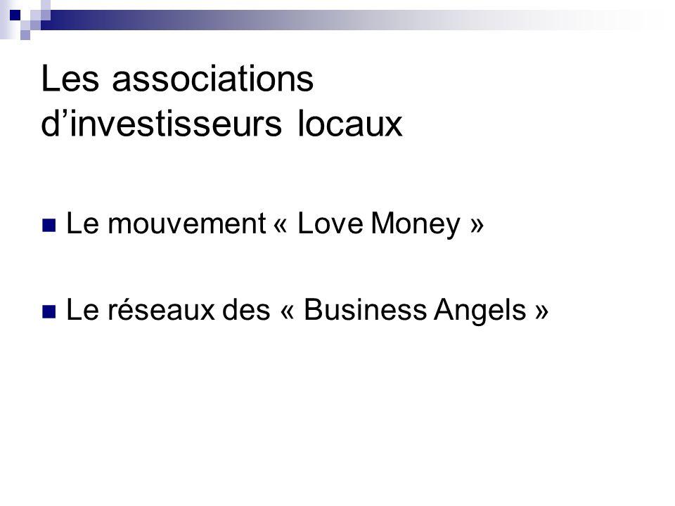 Les associations dinvestisseurs locaux Le mouvement « Love Money » Le réseaux des « Business Angels »