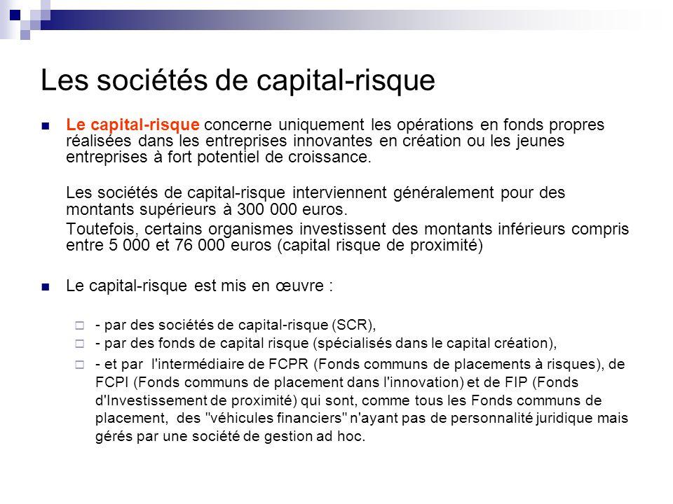 Les sociétés de capital-risque Le capital-risque concerne uniquement les opérations en fonds propres réalisées dans les entreprises innovantes en créa