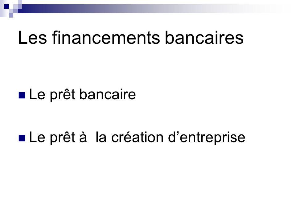 Le prêt bancaire Le prêt à la création dentreprise