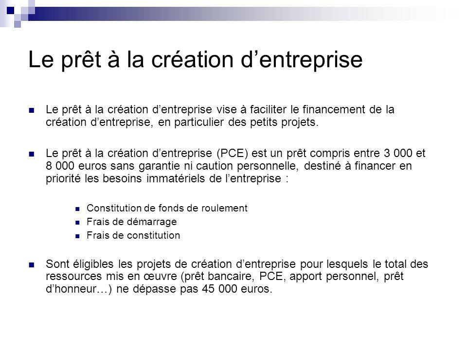 Le prêt à la création dentreprise Le prêt à la création dentreprise vise à faciliter le financement de la création dentreprise, en particulier des pet