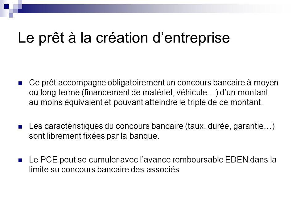Le prêt à la création dentreprise Ce prêt accompagne obligatoirement un concours bancaire à moyen ou long terme (financement de matériel, véhicule…) d