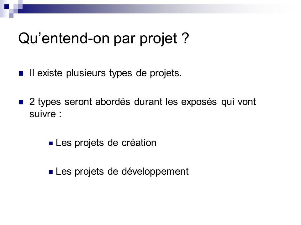 Quentend-on par projet ? Il existe plusieurs types de projets. 2 types seront abordés durant les exposés qui vont suivre : Les projets de création Les