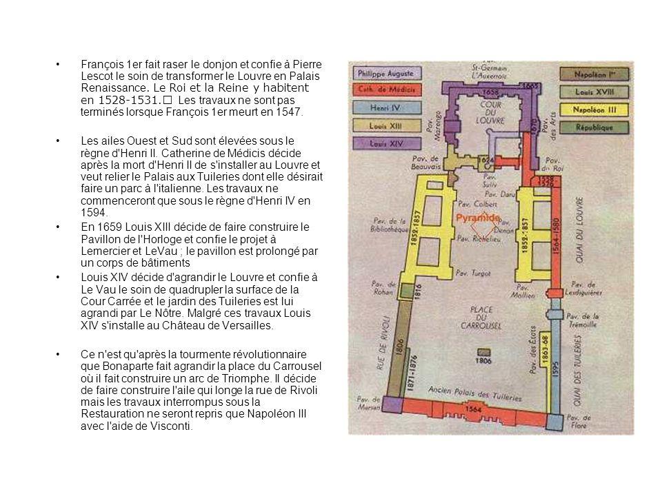 François 1er fait raser le donjon et confie à Pierre Lescot le soin de transformer le Louvre en Palais Renaissance. Le Roi et la Reine y habitent en 1