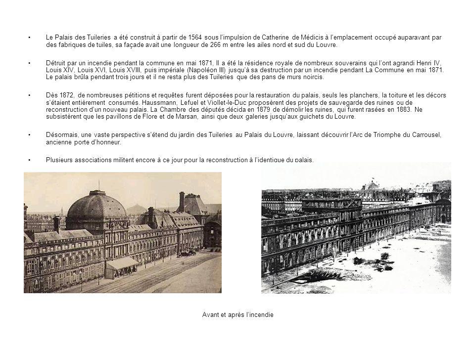 Le Palais des Tuileries a été construit à partir de 1564 sous l'impulsion de Catherine de Médicis à l'emplacement occupé auparavant par des fabriques
