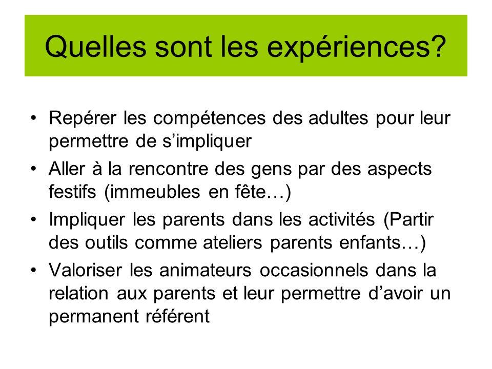 Quelles sont les expériences? Repérer les compétences des adultes pour leur permettre de simpliquer Aller à la rencontre des gens par des aspects fest