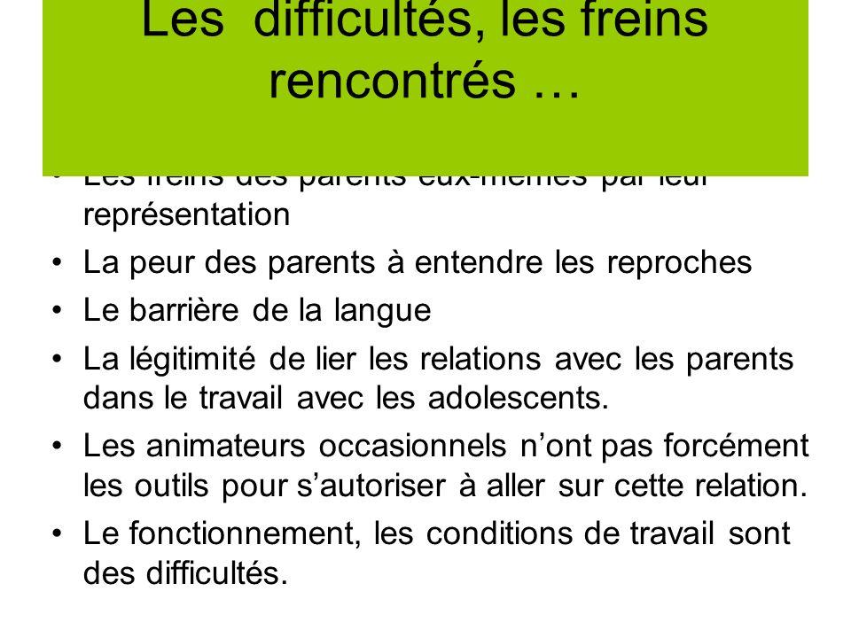 Les freins des parents eux-mêmes par leur représentation La peur des parents à entendre les reproches Le barrière de la langue La légitimité de lier l
