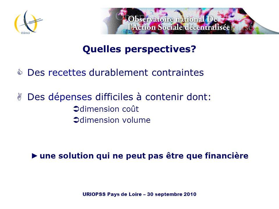 URIOPSS Pays de Loire – 30 septembre 2010 Quelles perspectives? Des recettes durablement contraintes Des dépenses difficiles à contenir dont: dimensio