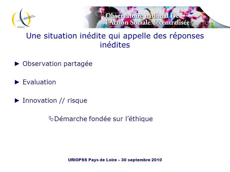 URIOPSS Pays de Loire – 30 septembre 2010 Une situation inédite qui appelle des réponses inédites Observation partagée Evaluation Innovation // risque