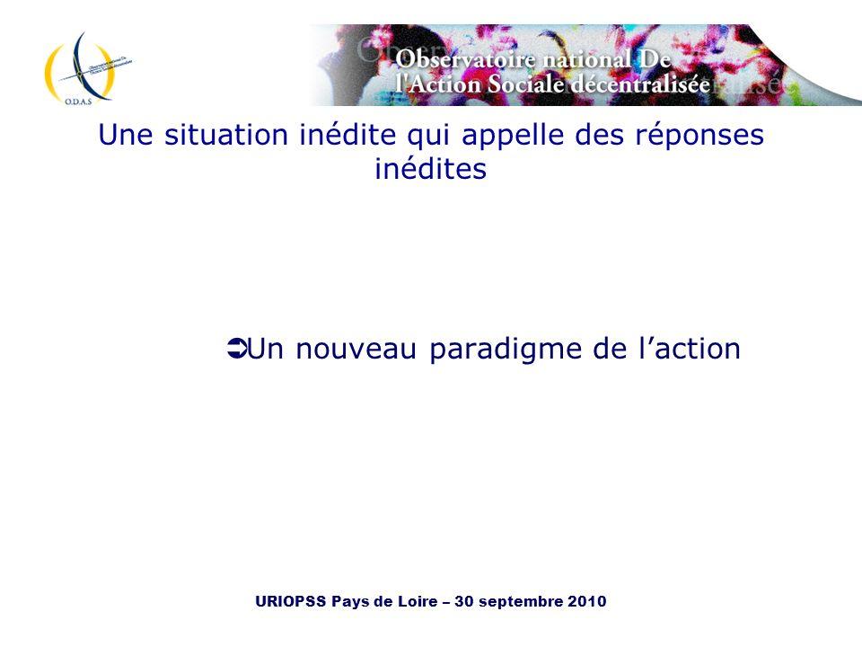 URIOPSS Pays de Loire – 30 septembre 2010 Une situation inédite qui appelle des réponses inédites Un nouveau paradigme de laction