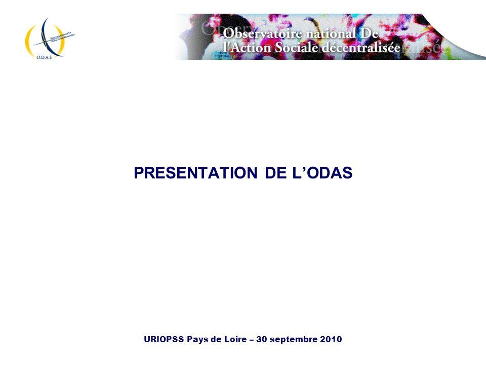 URIOPSS Pays de Loire – 30 septembre 2010 Lobservatoire nationale de laction sociale décentralisée (ODAS).
