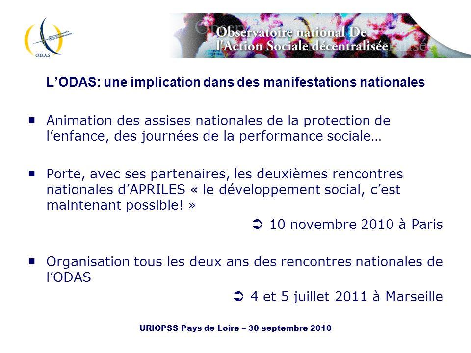 URIOPSS Pays de Loire – 30 septembre 2010 LODAS: une implication dans des manifestations nationales Animation des assises nationales de la protection