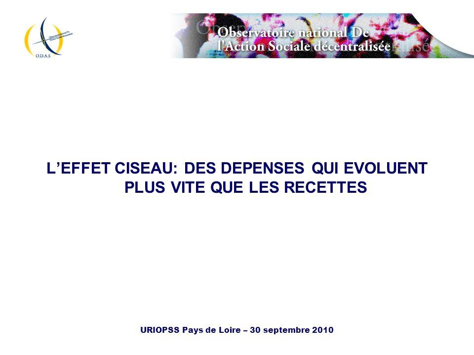 URIOPSS Pays de Loire – 30 septembre 2010 Trois notions les dépenses brutes les dépenses nettes la charge nette Travaux portant sur la France métropolitaine