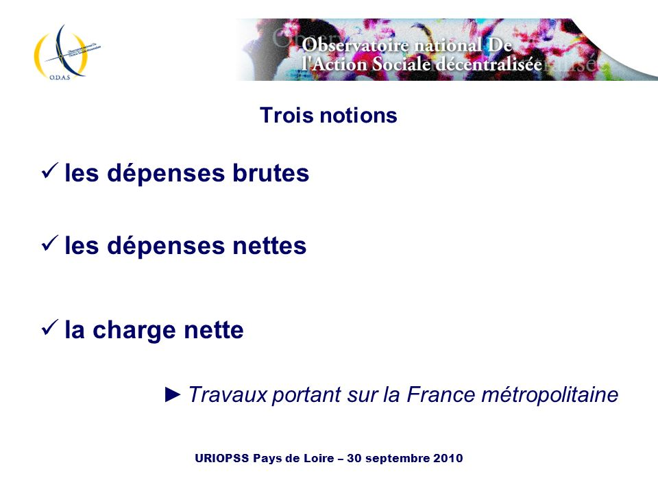 URIOPSS Pays de Loire – 30 septembre 2010 Trois notions les dépenses brutes les dépenses nettes la charge nette Travaux portant sur la France métropol