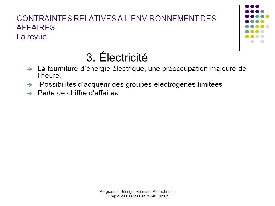 Programme Sénéglo-Allemand Promotion de l'Emploi des Jeunes en Milieu Urbain CONTRAINTES RELATIVES A LENVIRONNEMENT DES AFFAIRES La revue 3. Électrici